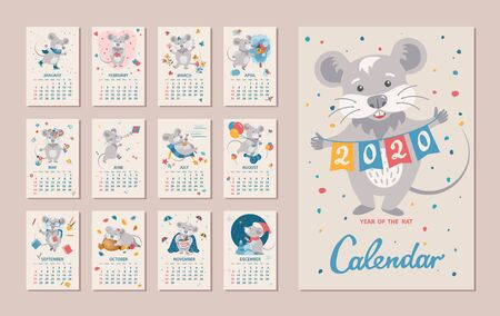 Monthly Calendar. Rat is a symbol of the 2020 Chinese New Year. Cute cartoon zodiac sign rat in different situations. Week starts on sunday. Vector illustration Ilustracja