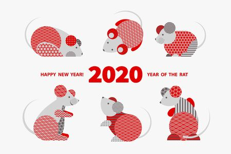Rat is a symbol of the 2020 Chinese New Year. Holiday vector illustration of Zodiac Sign of rats decorated with geometric pattern. Greeting card in Oriental style with mice, circle elements Stock fotó - 128058459