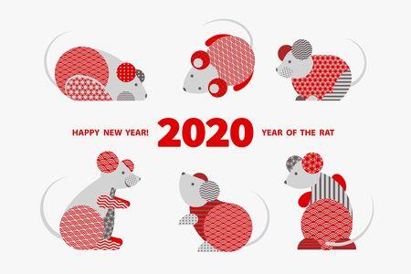 Ratte ist ein Symbol für das chinesische Neujahr 2020. Feiertagsvektorillustration des Tierkreiszeichens der Ratten, die mit geometrischem Muster verziert werden. Grußkarte im orientalischen Stil mit Mäusen, Kreiselementen Vektorgrafik