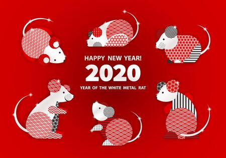 Rat is a symbol of the 2020 Chinese New Year. Holiday vector illustration of Zodiac Sign of rats decorated with geometric pattern. Greeting card in Oriental style with mice, circle elements Stock fotó - 128058497