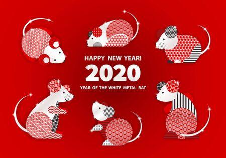 Ratte ist ein Symbol für das chinesische Neujahr 2020. Feiertagsvektorillustration des Tierkreiszeichens der Ratten, die mit geometrischem Muster verziert werden. Grußkarte im orientalischen Stil mit Mäusen, Kreiselementen