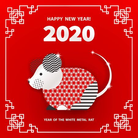 Rat is a symbol of the 2020 Chinese New Year. Holiday vector illustration of Zodiac Sign of rat decorated with geometric pattern. Greeting card in Oriental style with mouse, circle elements Illusztráció