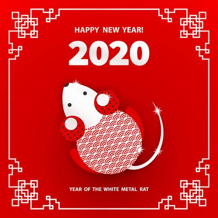 Rat is a symbol of the 2020 Chinese New Year. Holiday vector illustration of Zodiac Sign of rat decorated with geometric pattern. Greeting card in Oriental style with mouse, circle elements Foto de archivo - 128058912