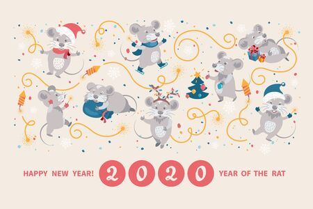 Greeting card with cute cartoon rats, symbol of 2020 Chinese New year. Rats in Santas hats and mittens cheerfully celebrating, decorating the Christmas tree, preparing gifts, lighting sparkler