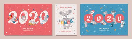 Set of three Greeting cards with cute cartoon rats. Rat is a symbol of the 2020 Chinese New Year. Vector illustration