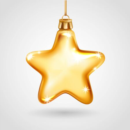Realistic golden glass Christmas tree toy. Decoration in the shape of a star. Vector illustration. Element for New Years Design