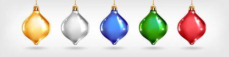 Set of five realistic glass Christmas tree toys different colors. Vector illustration. Decorative elements for New Years Design Illusztráció