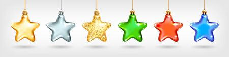 Set of realistic golden glass Christmas tree toys. Decoration in the shape of a star different colors. Vector illustration. Element for New Years Design