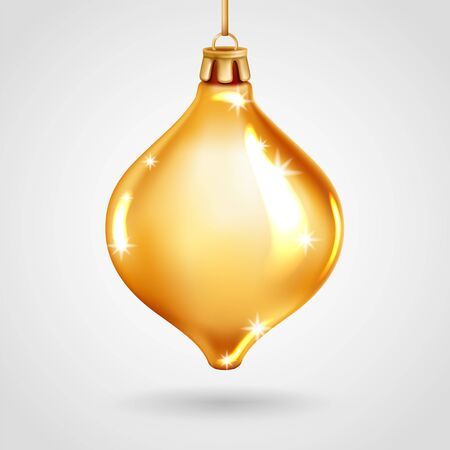 Realistic golden glass Christmas tree toy. Vector illustration. Decorative element for New Years Design