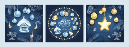 Set of three card Merry Christmas and Happy New Year. Christmas star, glass balls, house with sequins and elegant lettering on blue background. Sketch of branches fir tree, cedar, pine and cones