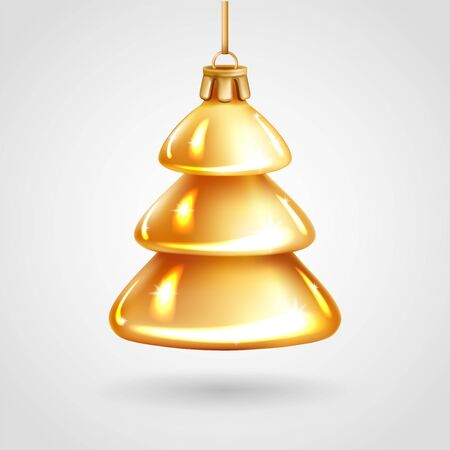 Realistic golden glass Christmas tree toy. Decoration in the shape of a Christmas fur-tree. Vector illustration. Element for New Years Design