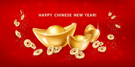 Happy Chinese New Year. Horizontal greeting card with realistic gold ingots Yuan Bao and falling coins on red background. The wish of wealth, abundance and monetary luck. Vector illustration