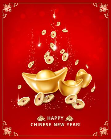 Happy Chinese New Year. Greeting card with realistic gold ingots Yuan Bao and falling coins on red background in frame. The wish of wealth, abundance and monetary luck. Vector illustration Illustration