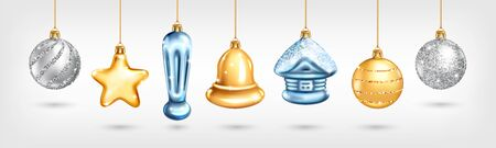 Set of realistic glass Christmas tree toys. Decoration in the shape of a star, ball, house, bell. Vector illustration. Element for New Years Design