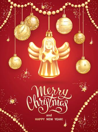 Greeting card Merry Christmas and Happy New Year. Christmas Angel holding star, realistic golden glass balls with sequins and garlands, lettering on red background. Template for holidays design