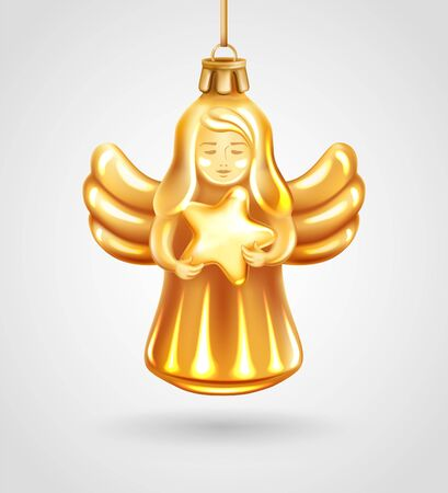 Realistic golden glass Christmas tree toy. Decoration in the shape of a Christmas Angel holding Star in hands. Vector illustration. Element for New Years Design