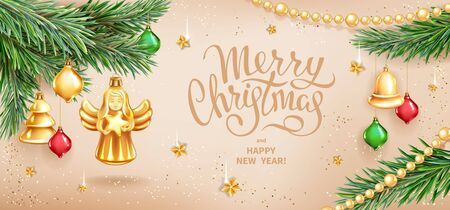 Greeting card Merry Christmas and Happy New Year. Christmas Angel holding star, realistic branches of fir tree, colored glass toys, sequins and gold garlands on beige background. Vector illustration