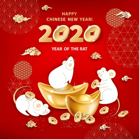 White metal Rat is a symbol of 2020 Chinese New Year. Greeting card with cute mice around realistic gold ingots Yuan Bao, coins, clouds on red background. The wish of wealth and monetary luck Illustration