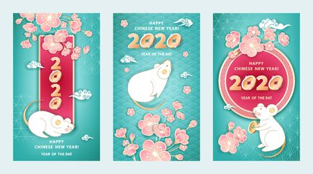 Set of three greeting cards for 2020 Chinese New Year. White metal Rat is a symbol year. Cute mice, coins, flowers pink spring sakura on turquoise blue background. The wish of wealth, monetary luck Illustration