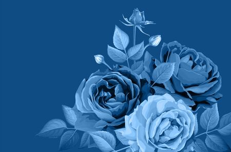 Floral background. Luxurious rose buds and leaves in blue shades