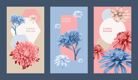 Template of three vertical floral backgrounds with Aster flowers. Pastel colors for design of invitation, greeting card, flyer, voucher.