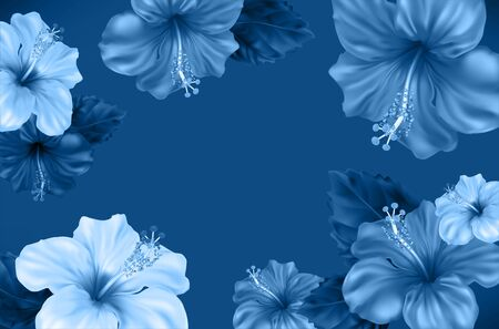 Floral background. Luxurious blooming Hibiscus flowers and leaves in blue shades. Beautiful tropical flower is also called Chinese Rose. The symbol of Malaysia, Korea and Hawaii. Vector Illustration. Illustration