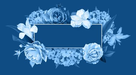 Floral background in shades of blue color. Blooming flowers of lovely Roses, Alstroemeria, light phloxes, buds and leaves on dark background. Ilustracja