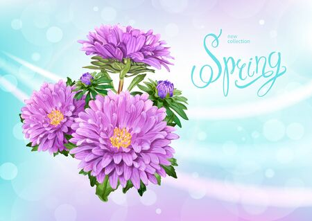Beautiful floral background with bunch of blooming flowers of light violet Aster. Inscription Spring on pastel blue background. Vector illustration.