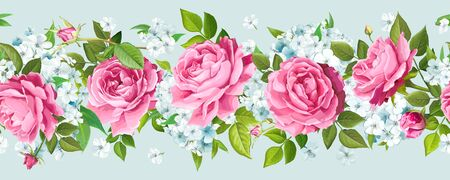 Vintage floral seamless border with flowers of pink Roses and tender Phloxes, buds, greenery isolated on a light background. Vector illustration