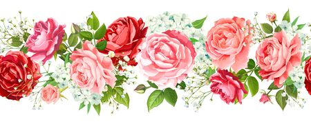 Vintage floral seamless border with flowers of red, pink, gentle peach Roses, light Phloxes, tender white Gypsophila, buds, greenery isolated on a white background. Vector illustration