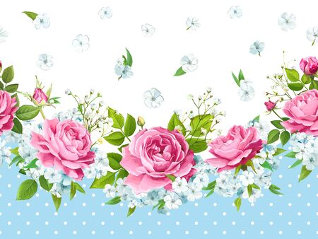 Vintage floral seamless border with flowers of pink roses, light Phloxes, tender white Gypsophila, buds, greenery on a blue background in polka dots. Vector illustration Illustration