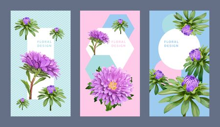 Template of three vertical floral backgrounds with Aster flowers. Pastel blue and pink colors for design of invitation, greeting card, flyer, voucher.