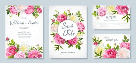 Wedding invitation card template. Floral design with blooming flowers of pink and light yellow peonies, lovely roses, buds, green leaves Illustration