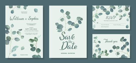 Wedding invitation card template. Floral design with branches of Silver dollar eucalyptus. Vector illustration in mint, green, blue tones Stock Illustratie