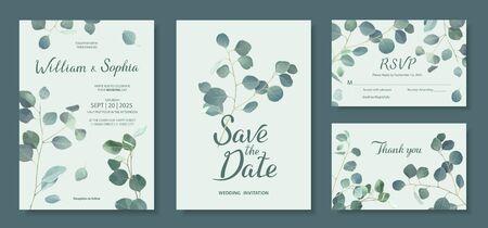 Wedding invitation card template. Floral design with branches of Silver dollar eucalyptus. Vector illustration in mint, green, blue tones Illusztráció