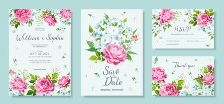 Wedding invitation card template. Floral design with blooming flowers of lovely pink roses, light Phloxes, tender white Gypsophila, buds and greenery. Vector illustration