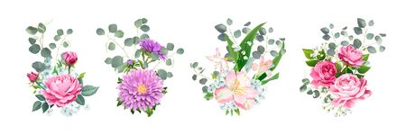Set of vector bouquets. Blooming flowers of pink Roses, Alstroemeria, light-blue Phloxes, violet Aster and tender Gypsophila among of Eucalyptus leaves isolated on a white background. Wedding Design Illusztráció