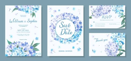 Wedding invitation card template. Floral design with blooming flowers of light-blue and violet Phloxes, green leaves. Vector illustration in delicate pastel palette
