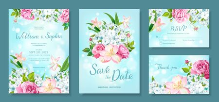 Wedding invitation card template. Floral design with blooming flowers of pink Roses, Alstroemeria, light-blue Phloxes, buds, green leaves on pastel sky-blue background. Vector illustration