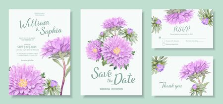 Wedding invitation card template. Floral design with bunch of blooming flowers of light violet Aster. Vector illustration in soft pastel colors