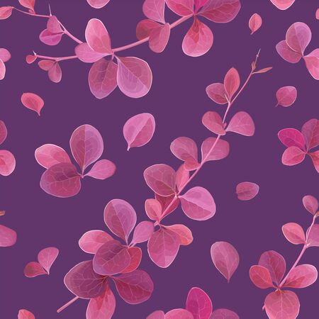 Seamless pattern with various branches and leaves of red-purple decorative Berberis Ottawensis Superba on a dark violet background. Vector illustration for modern floral textile design