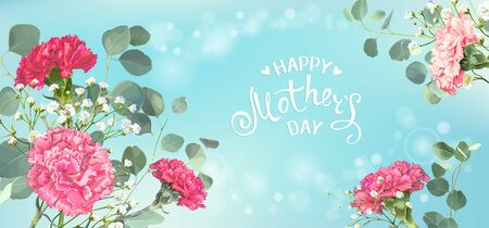 Inscription Happy Mothers Day with bunch of red and pink carnations, eucalyptus branches and white gypsophila on a blue pastel background. Template for greeting card, banner, poster, voucher design