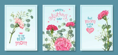 Happy Mothers Day. Set templates with blooming flowers of pink and red carnations, green leaves eucalyptus silver dollar and white gypsophila. Hand-drawn lettering for BEST MOM. Spring background