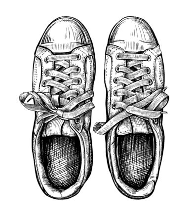 Hand drawn sketch of sneakers Isolated on a white background. Concept of comfort sport shoes in modern casual style. Vector illustration
