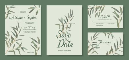 Wedding invitation card template. Floral design with branches of Eucalyptus radiata. Vector illustration in mint, green, blue tones 矢量图像