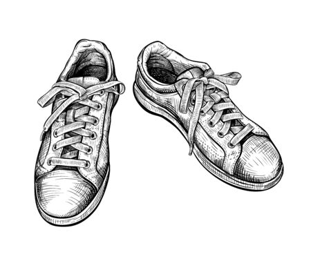Hand drawn sketch of sneakers Isolated on a white background. Concept of comfort sport shoes in modern casual style. Side view. Vector illustration 矢量图像