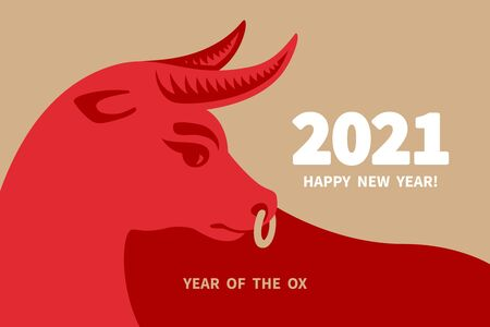 Ox is a symbol of the 2021 Chinese New Year. Holiday vector illustration of decorative red Zodiac Sign of bull on a beige background. 矢量图像