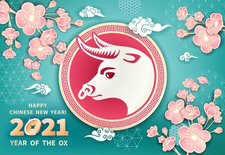 White metal ox is a symbol of the 2021 Chinese New Year. Vector banner with ox, coins, flowers pink sakura on turquoise blue background. The wish of wealth, abundance, monetary luck