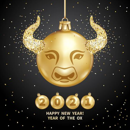 Ox is a symbol of the 2021 Chinese New Year. Realistic golden glass balls with ox muzzle, brighting sequins on a black background. Decorative Christmas design elements. Vector holiday illustration