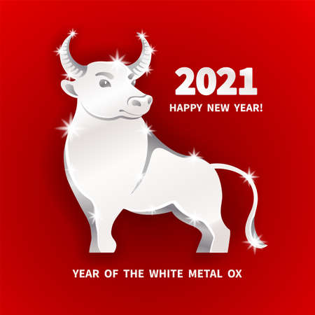 White metal Ox is a symbol of the 2021 Chinese New Year. Holiday vector illustration of decorative metallic Zodiac Sign of bull on a red background